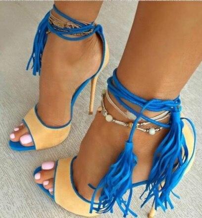 PRICHICELLA Mode schwarz satin lace up knöchelverpackung high heel pumps aus echtem leder sommer pumpen - 2