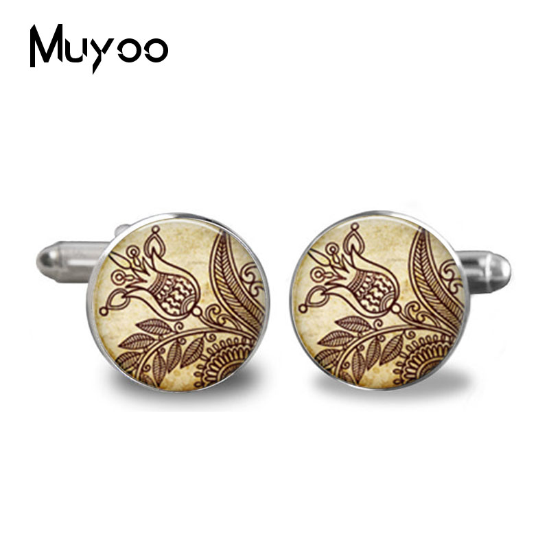 2017 New fashion handmade Henna glass vintage Flower Henna tattoo from India jewelry High Quality Cufflinks jewelry
