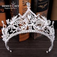 HIMSTORY Sparkly Handmade Rhinestone Big Tiaras Crown Bridal Hair Accessories Royal Queen Princess Crowns Wedding Headpiece