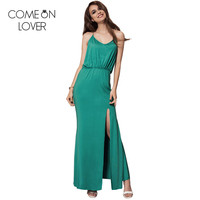 Comeonlover Gold Chain Halter T Back Sexy Bohemian Dress V Neck Strap Summer Vestido Club Party