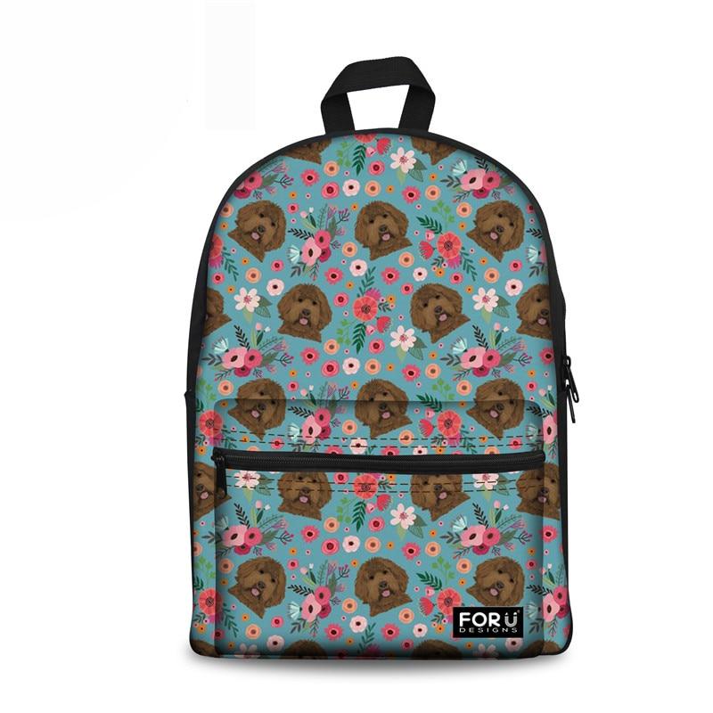 Japanese School Bag Kids Labradoodle Flower Women Canvas Schoolbag Backpack For Teenager Girls Mochila Escolar Infantil