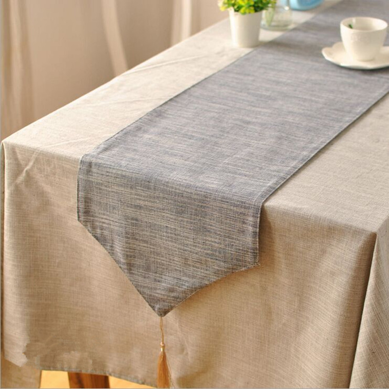 Anese Style Plain Solid Color Cotton Table Runner Blue Gray Wallpaper Modern Minimalist In Runners From Home Garden On