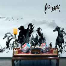 Custom wallpaper ink Chinese painting horse to success background wall paper mural advanced waterproof material