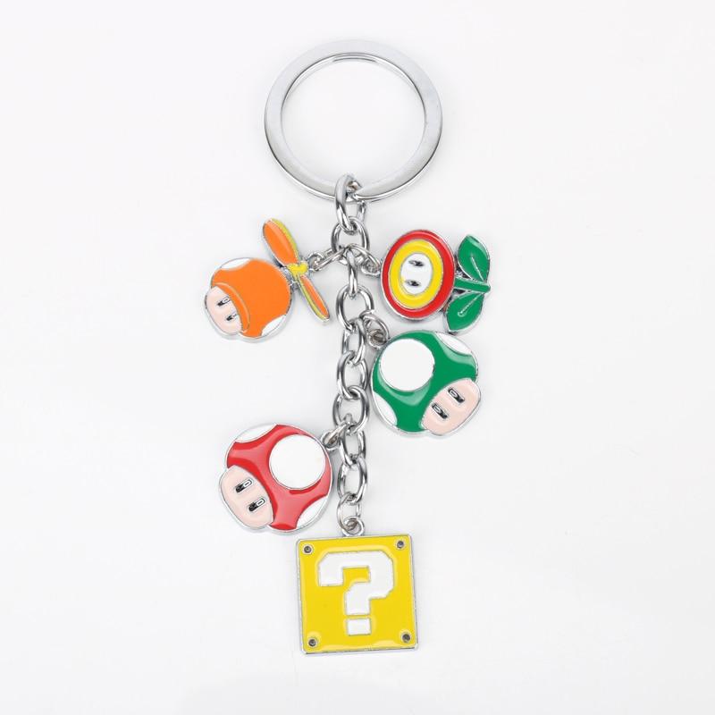 Classic Game Anime Keychain Super Mario Alloy mushroom Flower Pendant Key Chain Car Key Holder Keyring chaveiro Unisex Gift