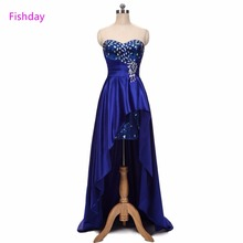 Royal Blue Short Front Long Back Party Prom Dress Crystal Special Formal Luxury Sweetheart Long Cheap Vestido De Baile B20(China)