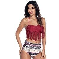 High Waisted Bikinis Women Beach Swim Wear Flower Print Swimsuit Tassel Bikini Plus Size Halter Bathing
