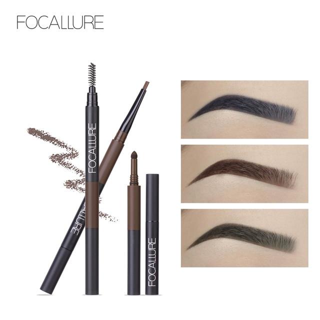 FOCALLURE Eyebrow Pencil 3 in 1 Auto Waterproof Eye Makeup Brow Shades Brush Powder Tint No Tone Long Lasting Eyebrow Pencil 1