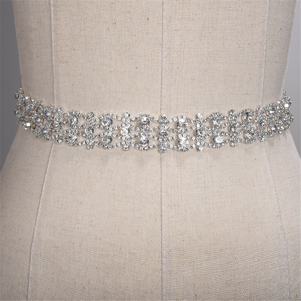 Купить с кэшбэком Handmade Rhinestone Belt Crystal Wedding Dress Belt Bridal Belt Sash Waist Belt Satin Ribbon Gold Silver Wedding Accessories New