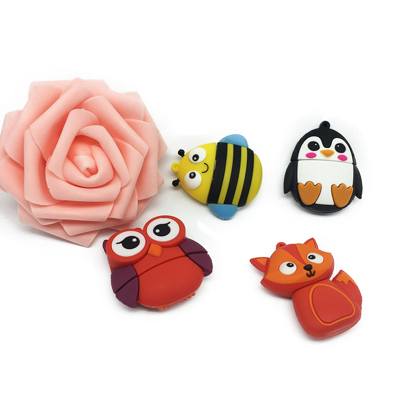 Cute animal usb flash drive 2 0 pendrive 128GB pen drive 4GB 8GB 16GB 32GB 64GB Cartoon u disk Fox Bee Owl Penguin free shipping in USB Flash Drives from Computer Office