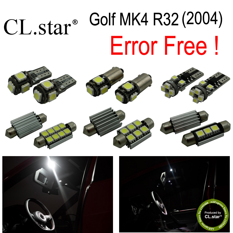 16pc X canbus error free for Volkswagen VW Golf MK4 R32 LED lamp Interior Light  Kit Package (2004) canbus error free for volkswagen vw golf 6 mk6 gti led interior light kit package 2010 car stying 8pcs