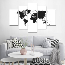 Canvas Painting Black and White World Map Posters And Prints Wall Pictures For Living Room Art Decoration