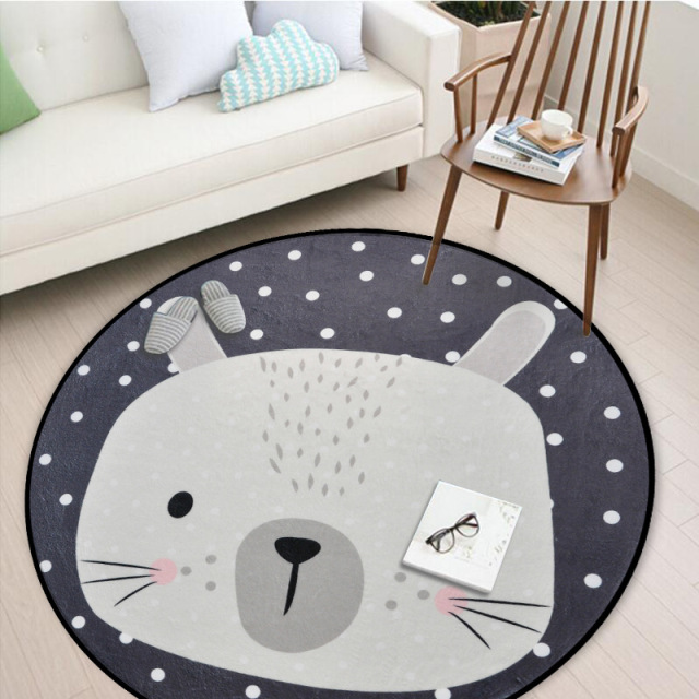 Grey Animals Soft Round Carpet for Baby Room