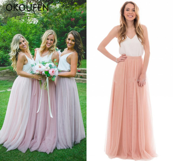 Two Pieces   Bridesmaid     Dresses   2019 Tulle White and Blush Maid of Honor Separate   dress   wedding party robe demoiselle d'honneur
