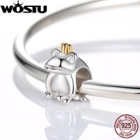 Authentic 925 Sterling Silver Frog Prince Charm Beads Fit Original Pandora Bracelet Pendants DIY Identical Jewelry