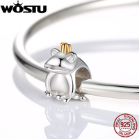 Authentic 925 Sterling Silver Frog Prince Charm Beads Fit Original Pandora Bracelet Pendants DIY Identical Jewelry