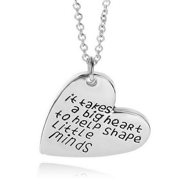 1PC Appreciation Gift Necklaces It takes a big heart to teach little minds Heart Pendant Necklace