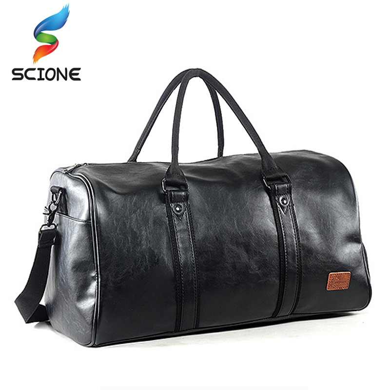 Top Quality PU Unisex Sport Gym Bag For Men Women with Independent shoes Travel Training Fitness