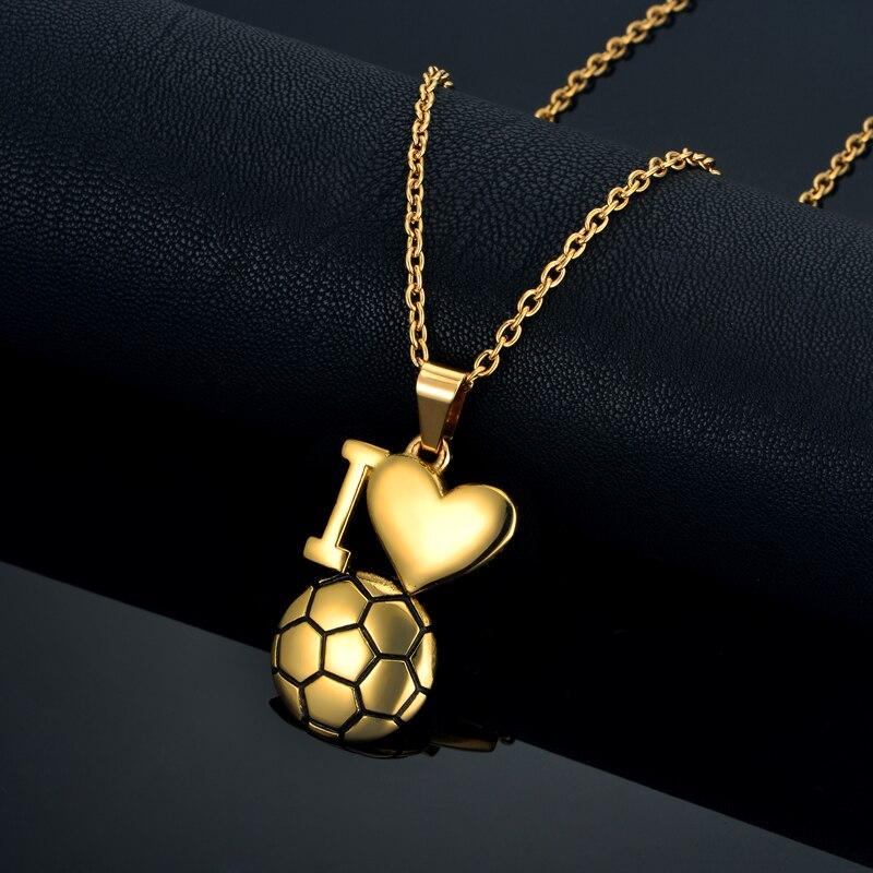 Emaille Fußball Halskette Gold Farbe Ich Liebe Fußball Anhänger - Modeschmuck - Foto 6