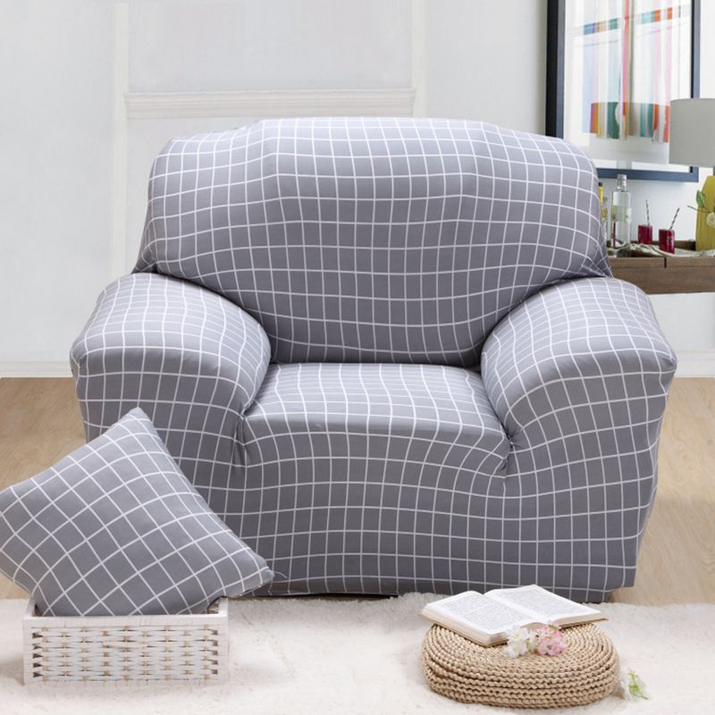 Grey Plaid Dyed Fabric Couch Cover 100% Polyester Elastic Sofa Cover Living  Room Slipcover 23 Colors Antifouling Machinery Wash-in Sofa Cover From Home