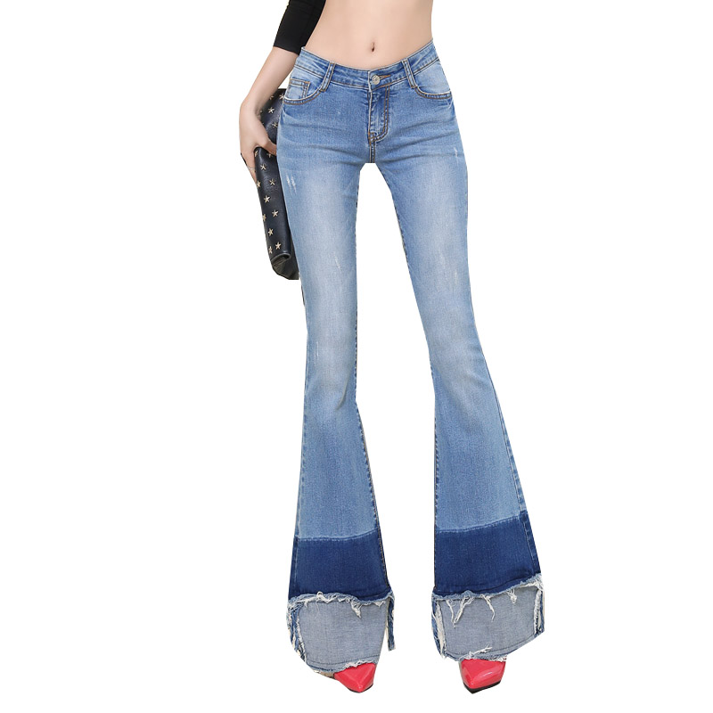 Europe Style Ladies Stitching Flared High Stretch Slim Flared Trousers Ripped font b Jeans b font