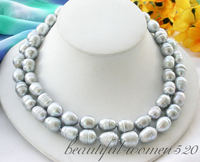 Z4504 2row 15mm rice Screw gray freshwater cultured pearl NECKLACE