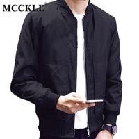 MCCKLE Men 2017 Spring Autumn Slim Fit Baseball Jacket Men S Solid Color Plus Size Bomber