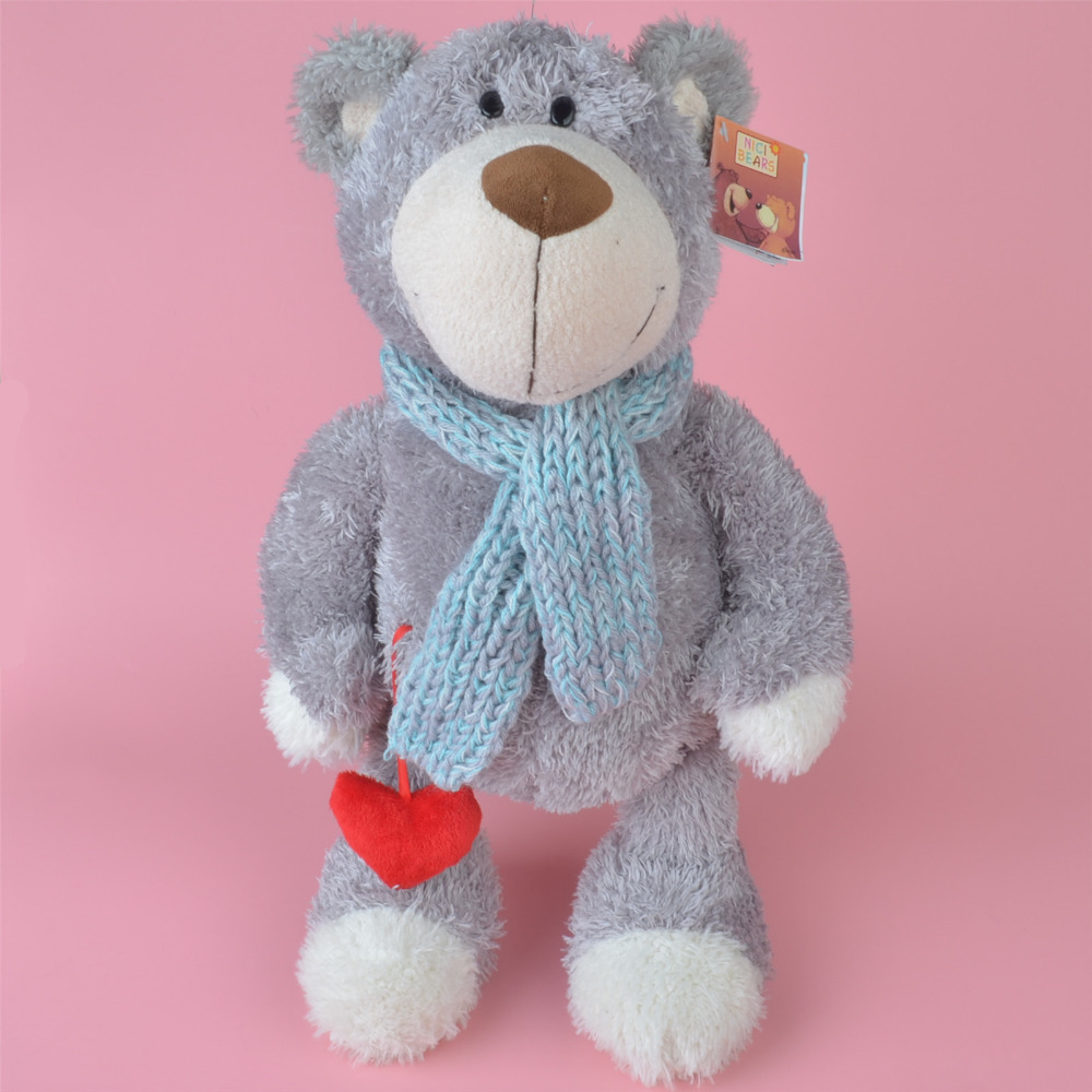 45cm Grey Color Scarf Teddy Bear Stuffed Plush Toy, Kids Baby Toy, Brithday Gift Free Shipping cartoon movie teddy bear ted plush toys soft stuffed animal dolls classic toy 45cm 18 kids gift