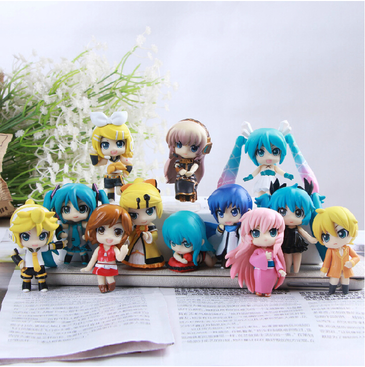 Christmas Free Shipping Vocaloid HATSUNE MIKU Family Figures Rin Len Ruka Kaito Meiko Anime Figure Toys 12pcs/set New in Box hot anime vocaloid hatsune miku action figures pvc brinquedos collection figures toys kids birthday christmas gift free shipping