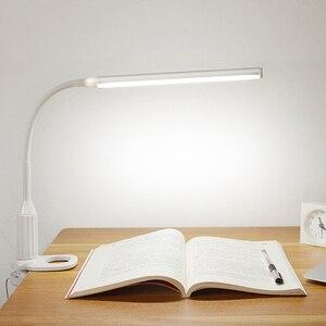 Image 2 - LED מגע על/כיבוי קליפ שולחן הגנה על העין מנורת מחקר מנורת שולחן מהדק משרד נטענת ניתן לעמעום USB Led שולחן מנורת Led