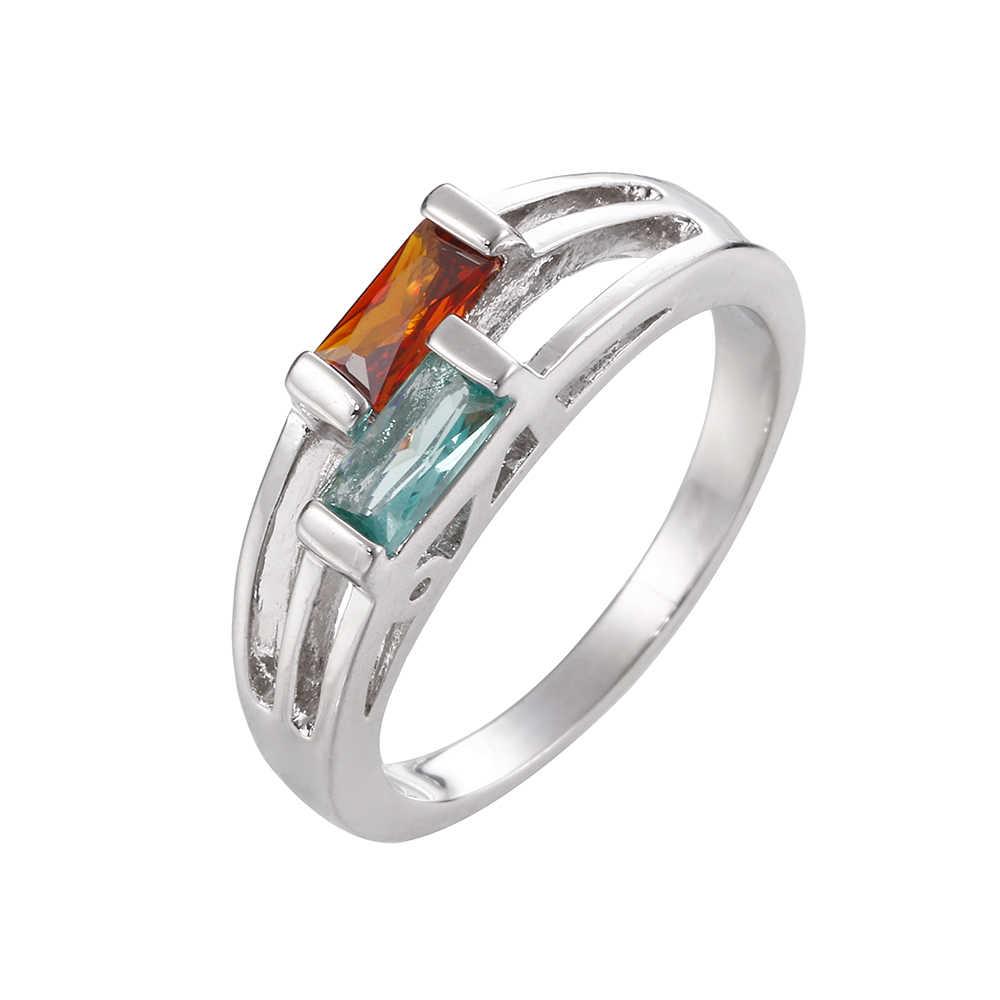 สีแดงมะกอกสีเขียวคริสตัลแต่งงานแหวนสีดำ/สีเงินโทนแฟชั่น Retro หมั้นแหวนเครื่องประดับสำหรับผู้หญิง Anillos mujer