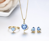 Heart Simulated Topaz Blue Crystals Pendant Necklace Stud Earrings Ring Gold Plated Small Jewelry Sets For