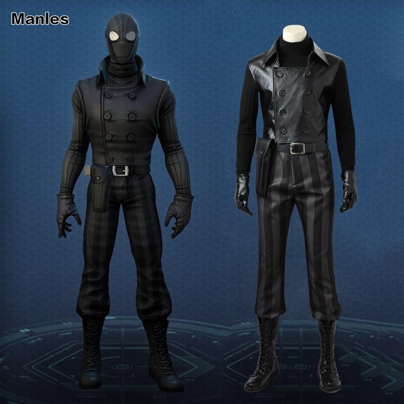 Человек паук Noir Косплэй костюм супергероя костюм Человека паука черный костюм комиксов КОМПЛЕКТ Хэллоуин сапоги для взрослых Для мужчин по