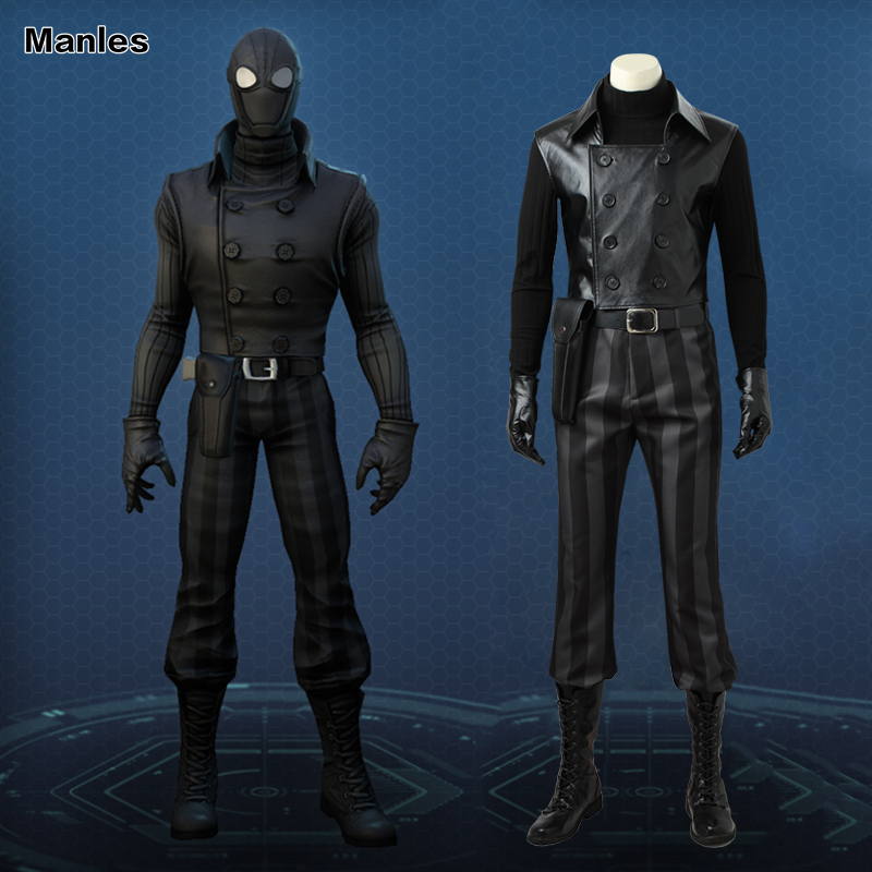 Spider-man Noir Cosplay Costume Superhero <font><b>Spiderman</b></font> Outfit Black Suit Comics Set Halloween <font><b>Boots</b></font> Adult <font><b>Men</b></font> Full Set Custom Made
