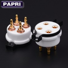 2PCS EIZZ Quality Ceramic 4pin Gold Plated U4A Tube Socket Audio Amp For 300B 2A3 811