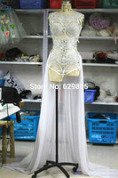 Shining Silver Gold Sequins Outfit Paillette Bodysuit Skirt Costumes Female Singer Dance Stage Wear Show Prom Costume