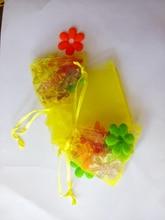 20 unids amarillo del regalo del organza bolsas 17×23 cm bolsos de fiesta para las mujeres evento casarse bolso de Lazo de Exhibición de La Joyería bolsa de Bolsa de accesorios de bricolaje