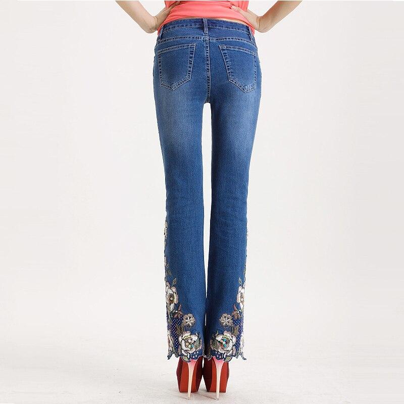 FERZIGE dżinsy kobiet wysokiej talii niebieski instrukcja haftowane flary spodnie koraliki ręcznie Bell Bottom Stretch Slim jeansowe damskie na co dzień mama dżinsy w Dżinsy od Odzież damska na  Grupa 3
