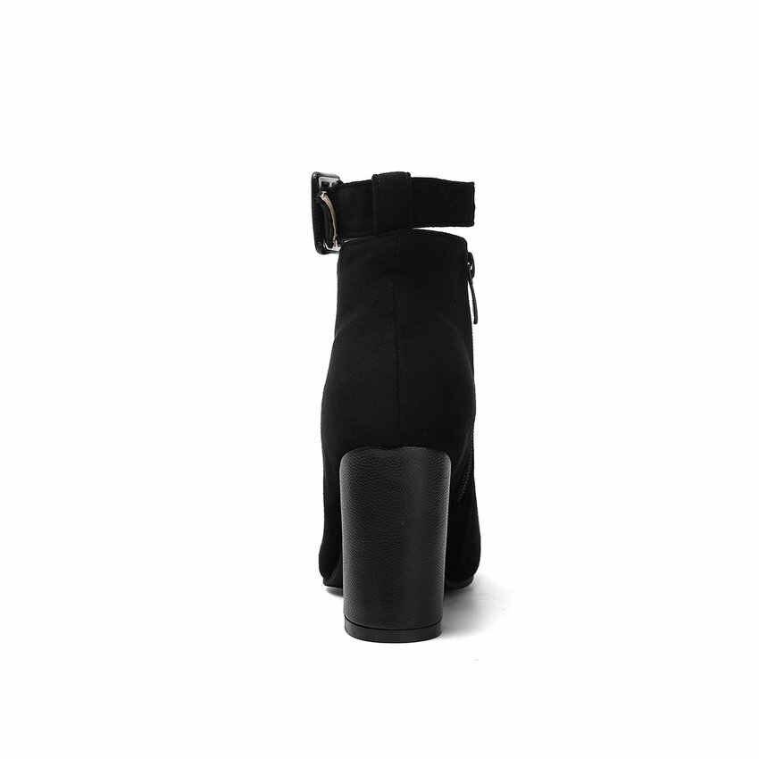 ESVEVA 2020 Kadın Ayakkabı Kış yarım çizmeler Kare Yüksek Topuk Toka Kayış Sivri Burun Motosiklet Platform Çizmeler Boyutu 34-43