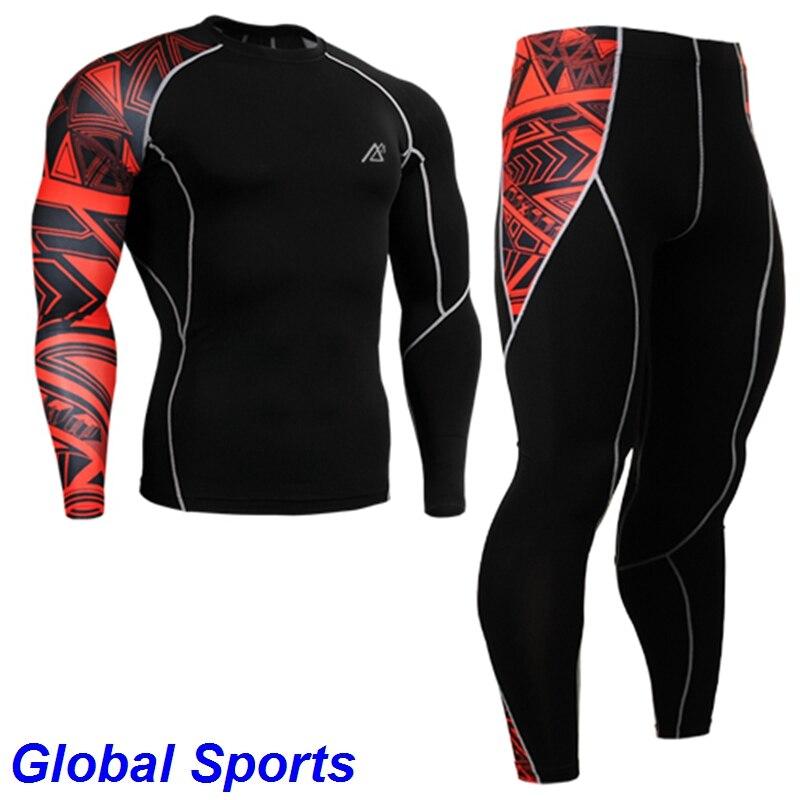2017 hommes survêtements sport jogging porte course couche de base costumes ensembles chemises à manches longues + collants pleine longueur taille s-4xl