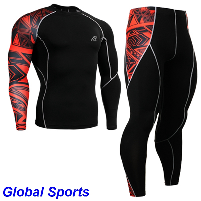2017 mens tracksuits sport jogging wears running base layer suits sets long sleeve shirts+full length tights size s-4xl the tomb of alexander