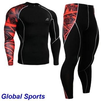 2017 mens tracksuits sport jogging wears running base layer suits sets long sleeve shirts+full length tights size s-4xl