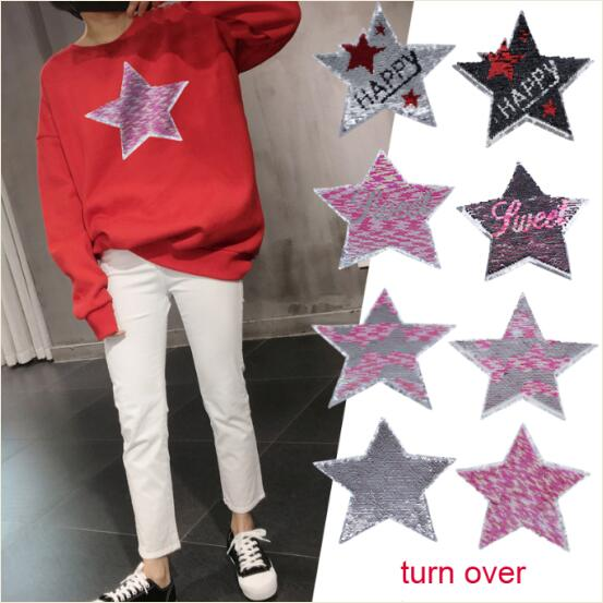 5pcs/lot Reversible Change Color Sequins Camouflage Star Embroidered Sew On Patch For Clothes Hat Bag Jeans Garment DIY Accessor