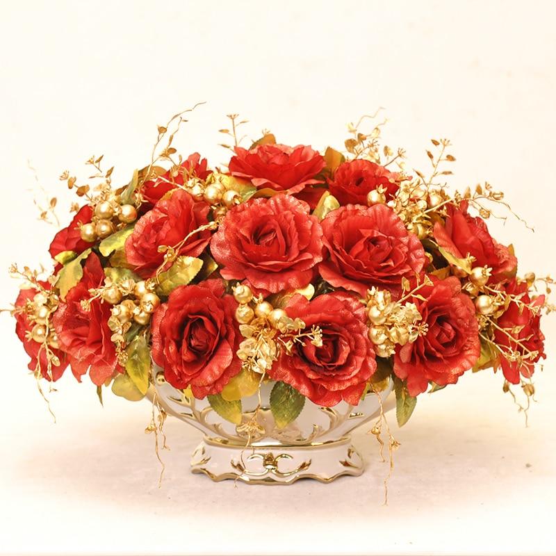 Королевский золотой бисер набор Модный с искусственными цветами набор гостиной обеденный стол украшение для дома цветок