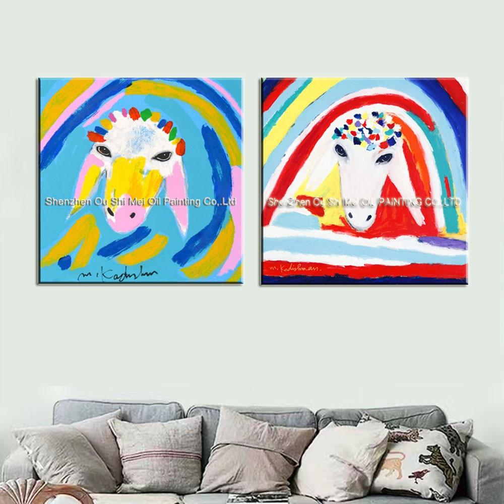 Obrazy imitujące Menashe Kadishman Ręcznie malowane na wystrój - Wystrój domu - Zdjęcie 3