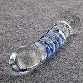 Nuevos Productos Del Sexo de Zafiro Espiral Consolador de Vidrio Pyrex 7 Pulgadas Realistas Strapon Pene de Cristal Artificial Juguetes Adultos Del Sexo para La Mujer
