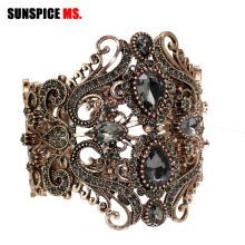 SUNSPICE-MS Retro Vintage Indian Wide Flower Bangle Cuff Women Antique Gold Color Spring Bangles Bracelet Turkish Wedding Bijoux