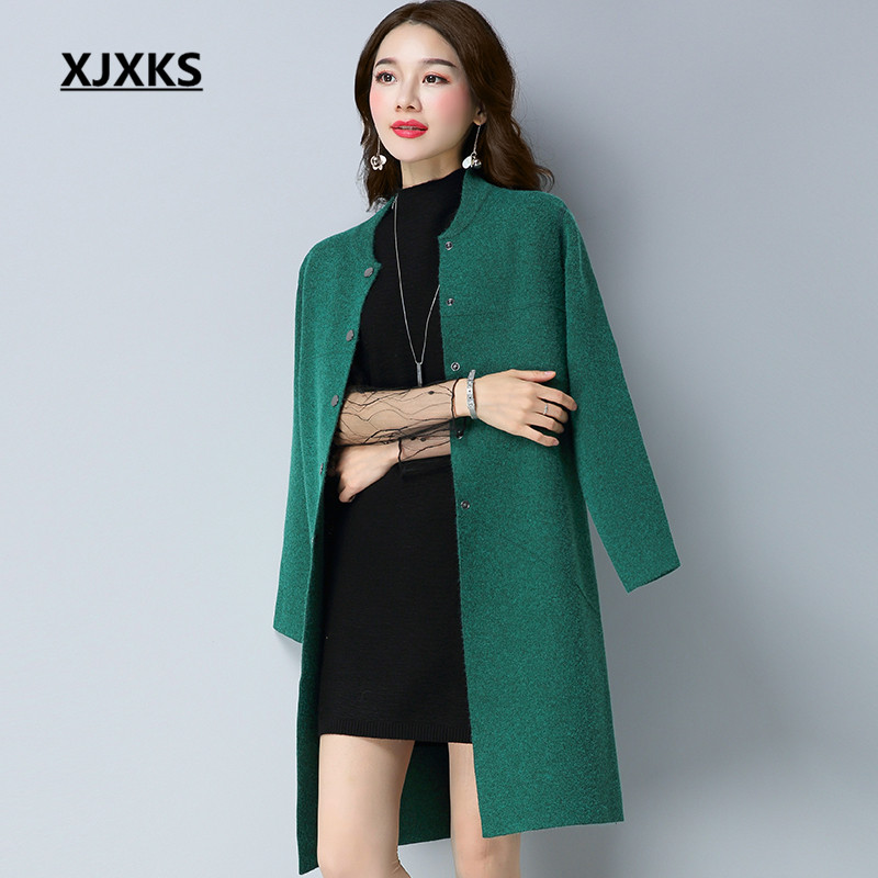 XJXKS Soft Cashmere Sweater Women Coat Single Breasted Cardigans Loose Autumn And Winter Straight Style Sweaters Coats 1515-in Cardigans from Women's Clothing    1