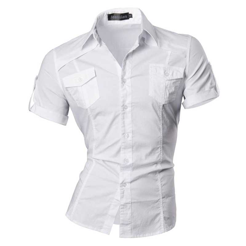 jeansian Men's Summer Short Sleeve Casual Dress Shirts Fashion Stylish 8360 3