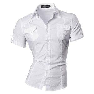 Image 3 - Джинсовая Мужская Летняя Повседневная рубашка с коротким рукавом, Стильная мода 8360