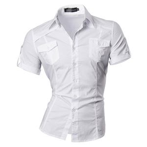 Image 3 - قميص جينز رجالي صيفي قصير الأكمام فستان كاجوال موضة أنيقة 8360
